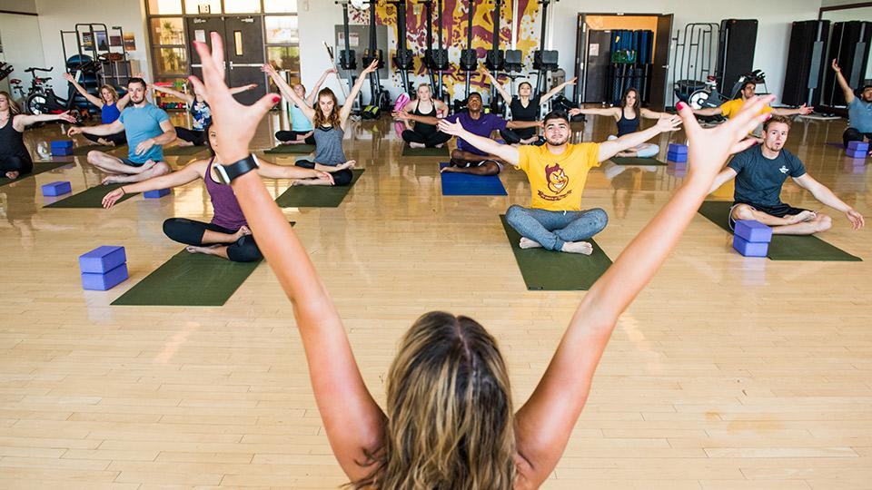 Students practicing yoga in a studio.