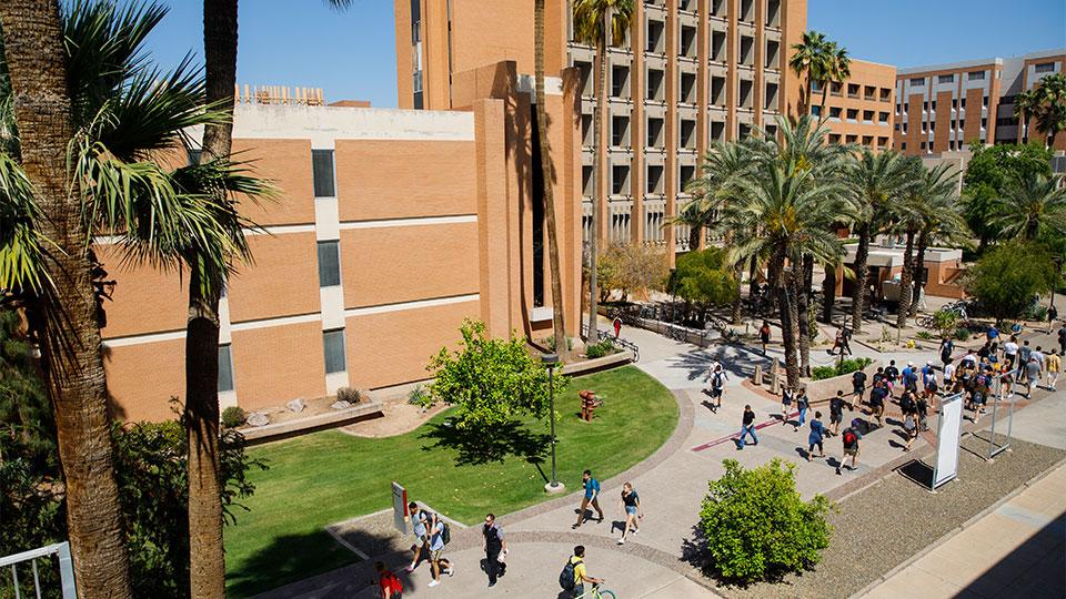 An overhead shot of people walking on campus.
